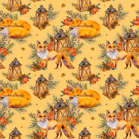 Watercolor woodland fox seamless pattern, Cute fox, Rustic lantern, Spruce branch, berries, pine cone and autumn leaves. Natural texture on white background. Christmas Decor