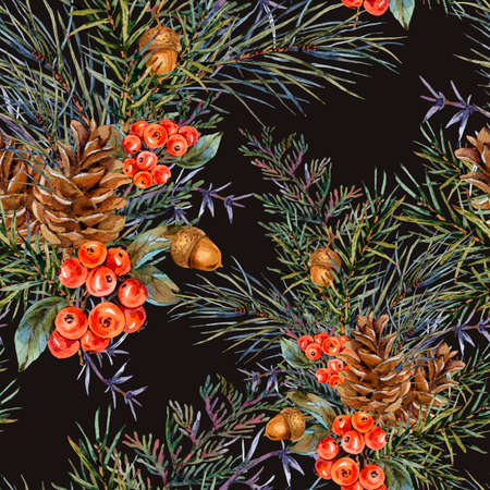 Watercolor winter seamless pattern with bouquet of spruce branches, pine cones, acorn, red berries. Natural Christmas texture on black background.