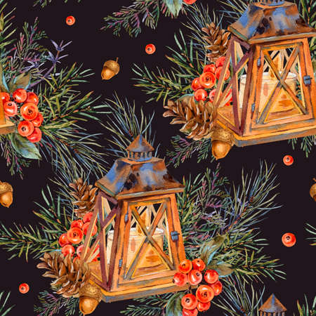 Watercolor vintage Christmas seamless pattern with rustic lantern, spruce branches, pine cones, berries. Natural holiday illustration on black background.