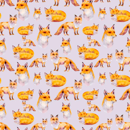 Watercolor woodland foxes seamless pattern, portrait fox, sleeping fox, Natural texture on violet background. Watercolour animals.