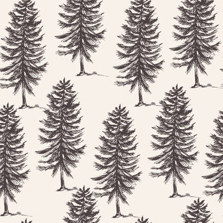 Vector natural forest seamless pattern of evegreen trees, Monochrome tree collection, Woodland wallpaper.