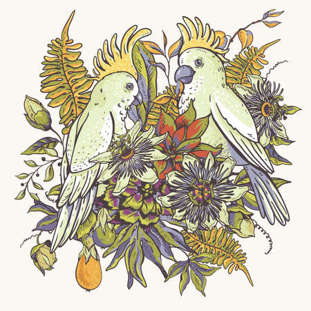 White parrot vintage tropical floral natural collection. Passiflora greeting card, flowers, exotic leaves. Scrapbook objects for party, wedding, birthday. Hand drawn vector illustration