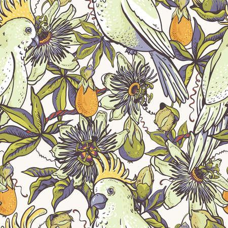 Perroquet blanc vintage, motif floral naturel sans couture. Texture de passiflore, fleurs, feuilles. Illustration vectorielle dessinés à la main