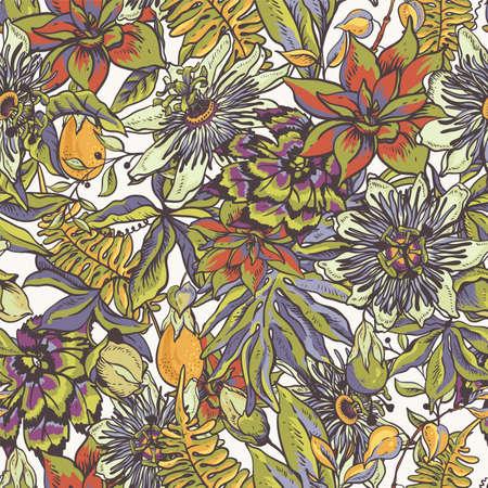 Modèle sans couture naturel floral tropical vintage. Texture de passiflore, fleurs, feuilles exotiques. Illustration vectorielle dessinés à la main