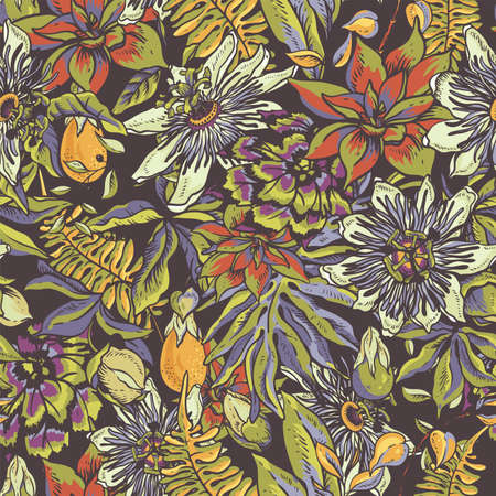 Vintage tropical floral natural seamless pattern. Passiflora texture, flowers, exotic leaves. Hand drawn vector illustration
