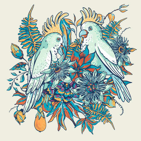 White parrot vintage tropical floral natural collection. Blue Passiflora greeting card, flowers, exotic leaves. Hand drawn vector illustration