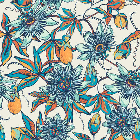 Vintage blue floral natural seamless pattern. Passiflora texture, flowers, leaves. Hand drawn vector illustration