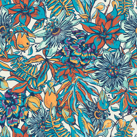 Vintage blue tropical floral natural seamless pattern. Passiflora texture, flowers, exotic leaves. Hand drawn vector illustration
