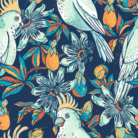 Vintage white parrot, floral natural seamless pattern. Passiflora texture, flowers, leaves. Hand drawn vector illustration
