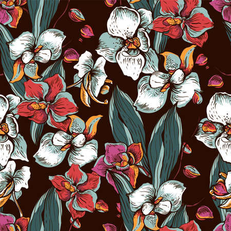 Natural vector seamless pattern with blooming orchid. Exotic flowers, botanical vintage texture on black background