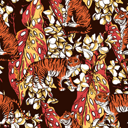 Vintage floral summer vector tiger seamless pattern with begonia flowers and leaves. Tropical animal texture. Exotic summer illustration on black background