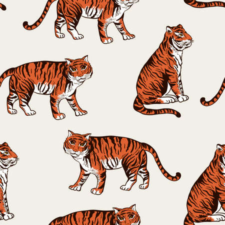 Vintage summer vector tiger seamless pattern. Tropical animal texture 向量圖像