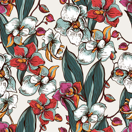 Natural vector seamless pattern with blooming orchid. Exotic flowers, botanical vintage texture