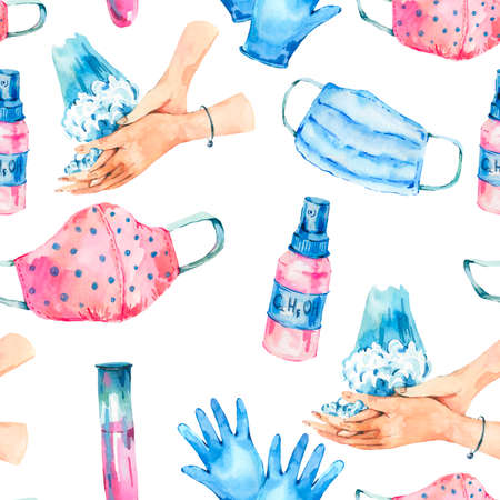 Watercolor medical equipment seamless pattern, Medical masks, blue gloves, hand washing, virus protection texture on white background Imagens