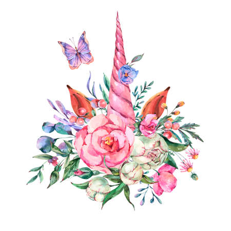 Watercolor floral unicorn illustration isolated on white background. Animal fairy flowers collection. Summer Greeting card.