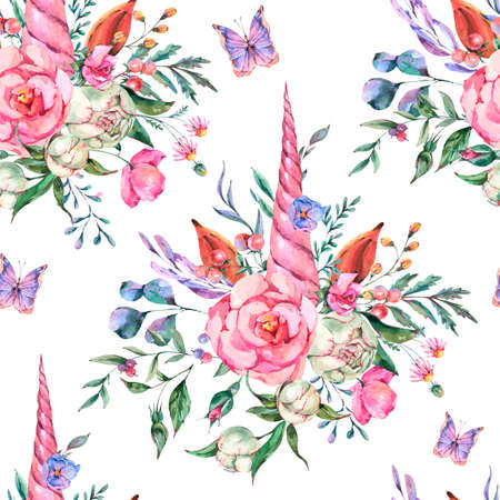Watercolor floral unicorn seamless pattern on white background. Animal fairy flowers collection. Summer Freeting card. Standard-Bild