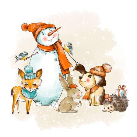 Vintage Christmas greeting card. Woodland fairy tale. Cute dog, snowman, fawn, small hedgehog. Holidays New Year illustration. Stockfoto