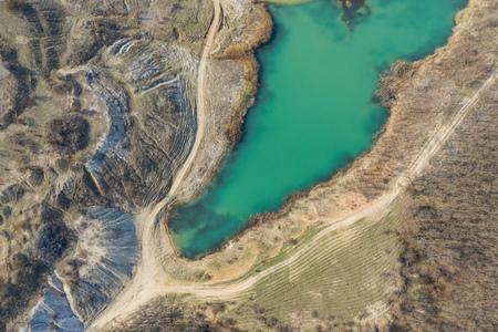 Lagoon near Cluj-Napoca, Romania from a drone