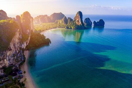 Krabi - Railay beach seen from a drone. One of Thailand's most famous luxurious beach.