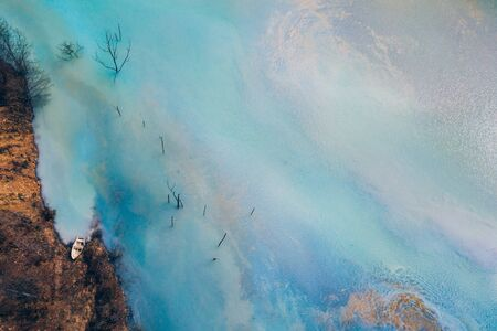 Drone view of contaminated, toxic water stream in Geamana, Romania Stok Fotoğraf