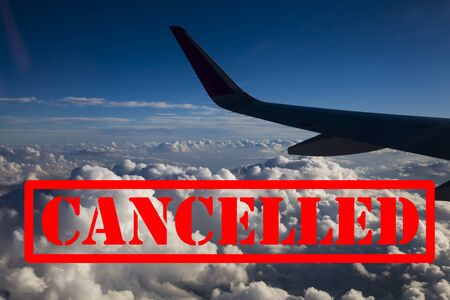 Cancelled flights due to coronavirus outbreak. Banned travels with airplanes.