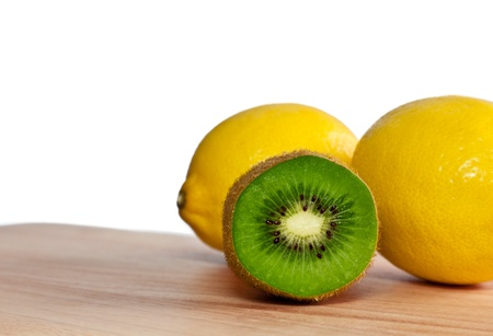 Cut kiwi and a couple of lemons