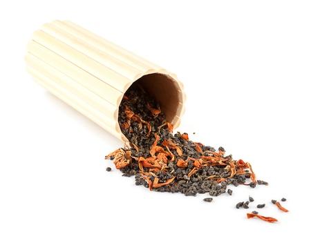 gunpowder tea: Exotic green tea with petals of lilies and chrysanthemums