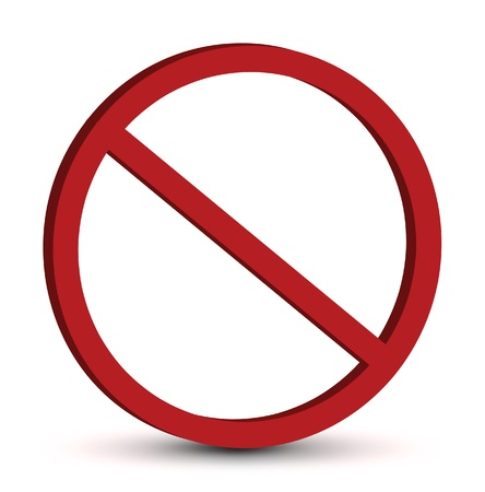 banned: Red prohibition sign on a white background