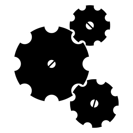 clockworks: Three black sketchy gear wheels on a white background