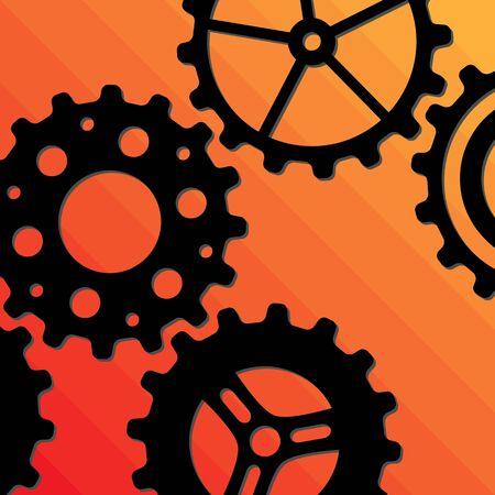 Five different black gear wheels on an orange background
