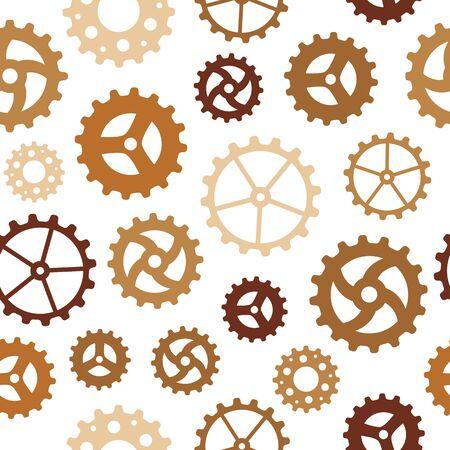 Seamless pattern with many rusty sketchy gear wheels Illustration