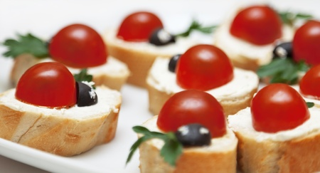 Delicious Appetizer With Bread And Tomatoes