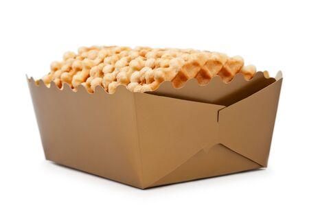 Box Of Crispy Waffles Isolated Over White Background photo