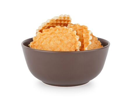 Waffles In The Bowl, Front View Stock Photo