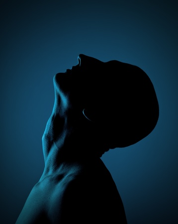 man face profile: Silhouette Of A Bald Man