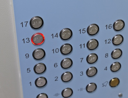 floor level: Elevator Control Panel Stock Photo
