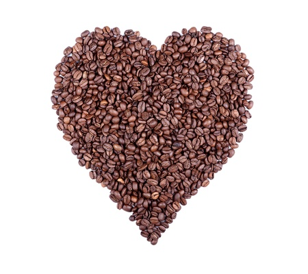 theine: Heart Symbol Composed Of Roasted Coffee Beans. Ideal For REAL Coffee Lovers