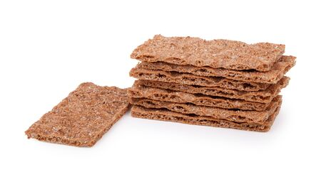 Stack Of Rye Crispbreads Isolated Over White Stock Photo