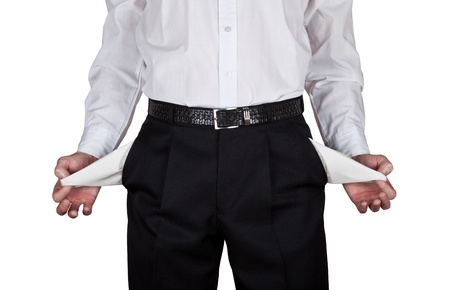 straps: The Businessman Turns His Empty Trousers Pockets