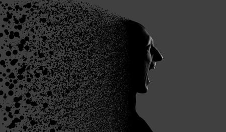 esquizofrenia: Hombre gritando se rompe en trozos pequeños