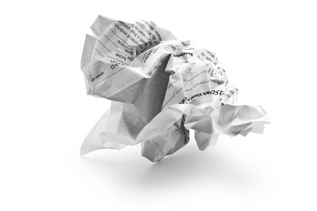 Crumpled sheet of paper isolated on white background Stock Photo - 13165174