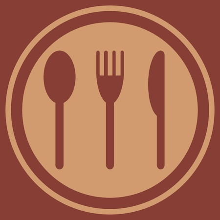 Plate with a spoon, fork and knife Illustration