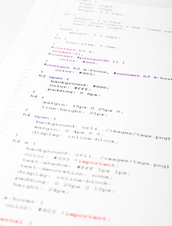 cascading style sheets: Part of the CSS code is printed on the paper