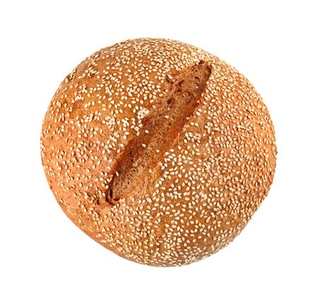A loaf of onion bread with sesame seeds isolated on white background photo