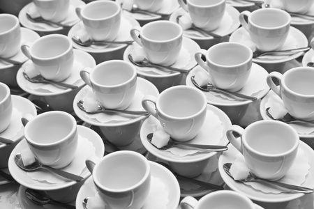 Tablewares prepared for the large tea party  Shallow depth of field photo