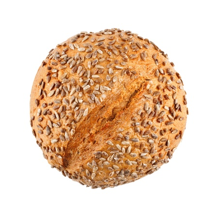 A loaf of delicious homemade bread with sunflower seeds isolated on white background