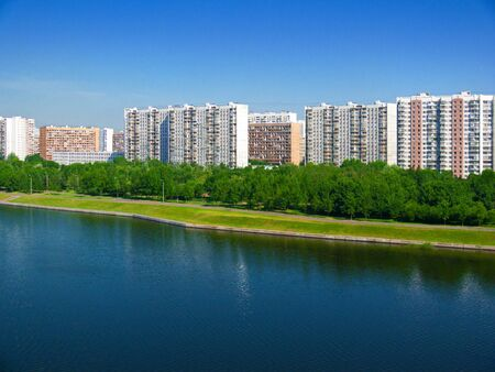 moskva river: Embankment of the Moskva River on a summer morning
