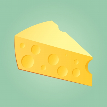 Delicious piece of cheese on a green background,  illustration