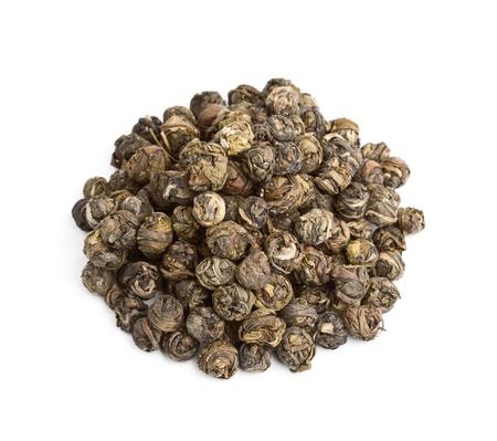 gunpowder tea: Exotic green tea isolated on white background Stock Photo