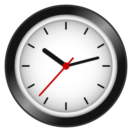 Modern wall clock isolated on white background